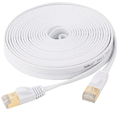 Cat7 Ethernet Cable Flat, jadaol® Shielded (STP) with Snagless Rj45 Connectors - 25 Feet White (7.62 meters)