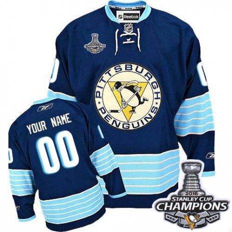 EdwinBernard Pittsburgh Penguins Men's Custom Jersey Navy Blue Third Vintage 2016 Stanley Cup Champions M