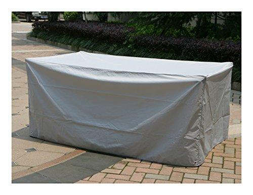 Schutzhülle für einen RECHTECKIGEN Tisch – mit verchromten Lochverstärkungen und Zugkordel zur Befestigung bestellen