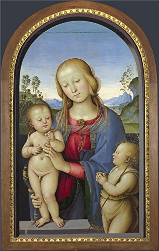 Polyster Canvas ,the Replica Art DecorativePrints On Canvas Of Oil Painting 'Associate Of Pietro Perugino The Virgin And Child With Saint John ', 8 X 13 Inch / 20 X 32 Cm Is Best For Wall Art Decor And Home Artwork And Gifts