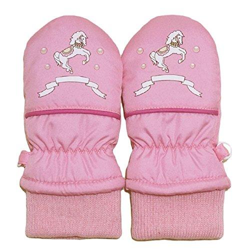 2014年 防寒衣料 お馬さん・パールプリント スノー手袋 ミトン グローブ WARM GLOVES 濃ピンク 1-2才
