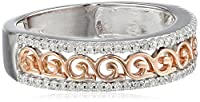 10k White and Pink Gold Diamond 1/5 cttw Filigree Ring from Tache USA Inc
