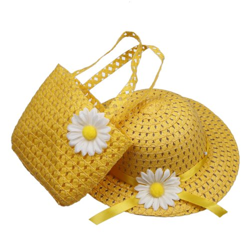Orien Lovely Kids Girls Children Yellow Straw Sun Beach Flower Hat Cap Handbag Set For 1-4 yearls old