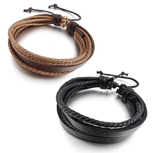 "Kalendone Men's 2PCS Genuine Leather Bracelet Bangle Chain Cord Brown Black Braided ,9"""