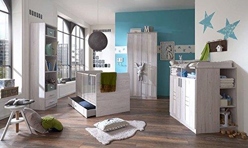 3 tlg babyzimmer in wei eiche nachbildung und icy white. Black Bedroom Furniture Sets. Home Design Ideas