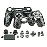 YTTL®Hydro Dipped Black Silver Carbon Fiber Wireless Controller Replacement Shell + Buttons for PS4 Playstation 4 Dualshock 4