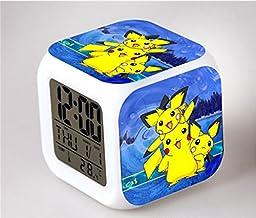 Changing LED Digital Alarm Clock Home Decor Pokemon Pickachu Cartoon Games Figure Light Control Backlight Time Calendar Thermometer Toys for Teens Boys Girl Kids (04)
