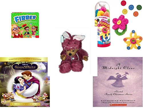 [Girl's Gift Bundle - Ages 6-12 [5 Piece] - Flibber Board Game - Cool Spool Knitting Kit Toy - Teddy Bear Plush In Purple Mouse Costume 12