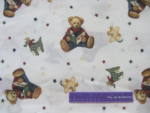 """44"""" Wide Blue Jean Teddy Cream Cotton Fabric By The Half Yard front-661064"""