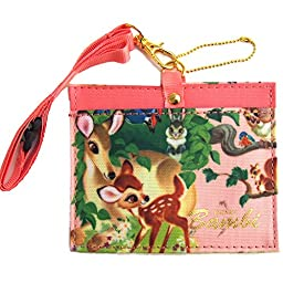 Japan Walt Disney Official Bambi - Bambi & Thumper Floral Pink Natural Cotton Pouch Travel Wallet with Strap Credit ATM ID Card Front Pocket Case Picture Pencil Pen Holder Protector Business Fashion