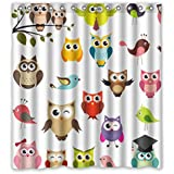 """CozyBath Owl Waterproof Polyester Fabric 66""""(w) x 72""""(h) Shower Curtain and Hooks"""