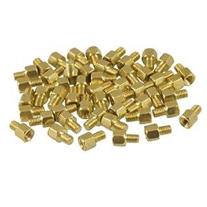 50 Pcs Brass PCB Standoffs Hexagonal Spacers M3 Male x M3 Female 4mm
