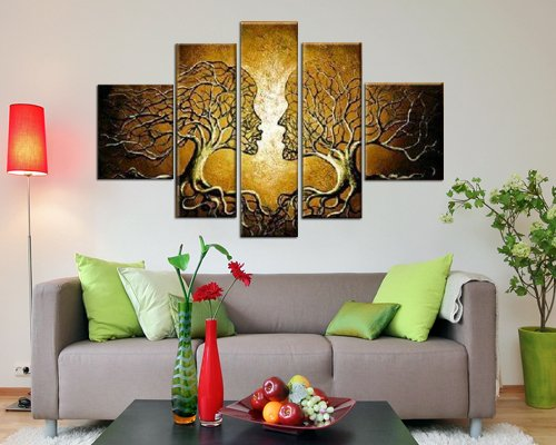 Sangu Hand Painted 5-piece Love Tree Oil Paintings Canvas Wall Art for Home Decoration
