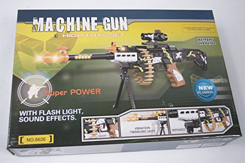 Combat Military Mission Machine Gun Toy LED With Flashing Lights & Sound (R8626) (Toy Assault Rifle With Bullets compare prices)