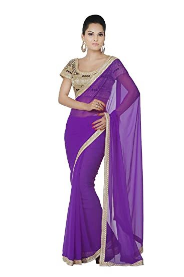 Oomph! Georgette Embroidered Party Saree with Designer Embellished Border available at Amazon for Rs.995