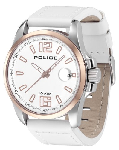 Police Men's Lancer Watch 12591Jssr/01 with White Leather Strap,Silver Dial and Gold IP Case