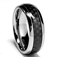7 MM Titanium Ring Wedding Band with Carbon Fiber inlay sizes 7 to 12