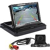 LUCOG Car Backup Auto Parking Reverse Kit, 5 inch Car Rear View Folding Monitor + 8 LED Waterproof Infrared Night Vision Camera