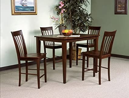 5PC Espresso Counter Height Table and Chairs Set