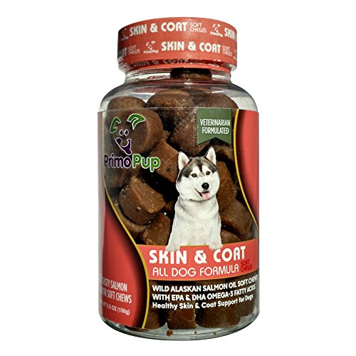 Primo Pup Skin & Coat Omega 3 Supplements | Fish Oil for Dogs | Vitamins to Promote Healthy Skin & Shiny Coat | Grain Free, No Artificial Colors or Flavors | Veterinarian Developed | 60 Soft Chews (Omega 3 Chews For Dogs compare prices)