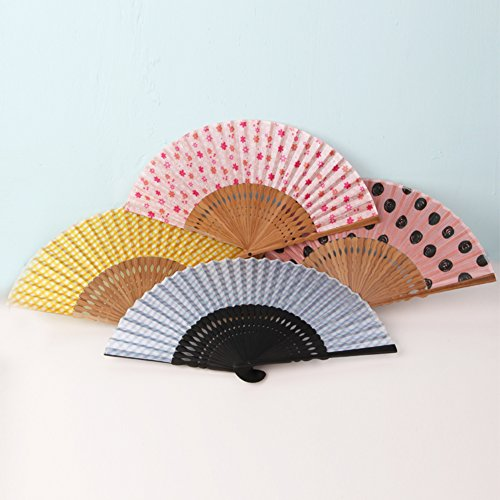 Arbor Home Japanese Foldable Beautiful Pattern Handheld Folding Fans Bamboo Hollow Carved for Girls Women Great Wedding Decoration, Birthdays, Home Gifts Random Color&pattern Pack of 1 Unit (Sector)