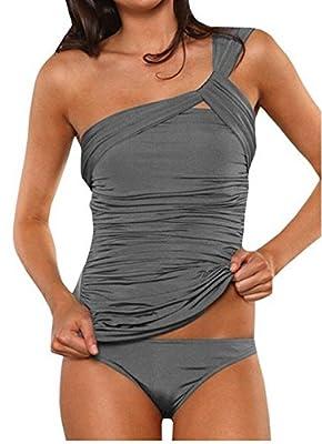 ASSKDAN Damen Drucken Neckholder Tankini Badeanzug Hot Frauen Streifen Rückenfrei Monokini Raffinerten Bademode