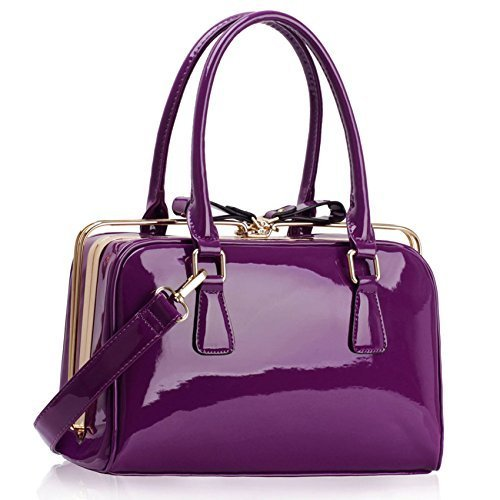 New Womens Designer Bags Ladies Fashion Handbags Tote Patent Shoulder Faux Leather Celebrity Style