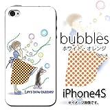 iPhone 4S/4対応 携帯ケース【439bubbles ホワイト・オレンジ】