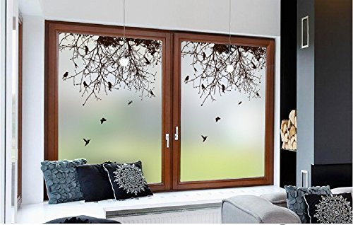 "Beyong Life Black Branch And Birds Privacy Window film Glass Sticker Bedroom Bathroom Kitchen Office Glass Decor Custom (23.6""×35.4"")"