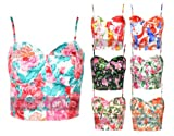 New Womens Zip Back Floral Printed Boobtube Bralet Cropped Bra Vest Ladies Top Size UK 6 8 10 12 14