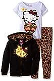 Hello Kitty Little Girls' Leopard 3PC Hoodie Legging Set, True Black, 5