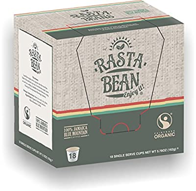Rasta Bean Direct Trade 100% Board Certified Genuine Jamaica Blue Mountain® Coffee K-Cups for Keurig Brewers (18-count)