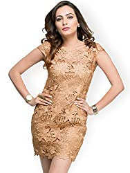 Amor Women's Polyester Dress(Amor_01_m_Beige_Medium)