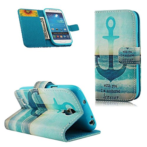 Mollycoocle Painted Fashion Style Wallet Book Case Magnetic Design Sky Blue Flip Folio Pu Leather Standup Cover Case With Sea Anchors Pattern For Samsung Galaxy S4 Mini I9190(Not For S4 I9500)