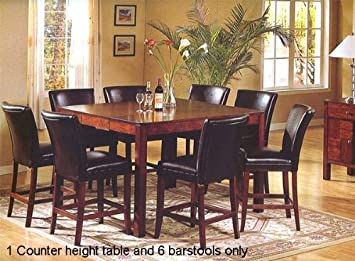 7pc Achillea Counter Height Pub Dining Table & Parson Barstools Set