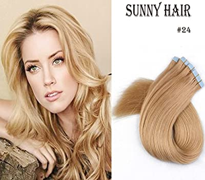 "Sunny 16"" Blonde Silk Straight Premium Remy(Remi) Tape in Human Hair Extensions-20Pcs Set 50Gram Weight"