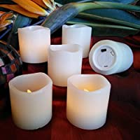 Flameless LED Battery Powered Candles By LED Lytes ~ 6 Real Wax Ivory Colored Unscented Votives
