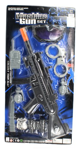 Police Swat Team Force Pretend Play Toy Gun Combo Set, Comes W/ Mk5 Special Ops Rifle, Safety Goggles, Handcuffs W/ Keys, Toy Grenades, Binoculars, Blade, Walkie-Talkie, Police Badge