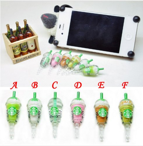 6 Color Starbucks Strawberry Kiwi Milk Vodka Mango Vanilla Frappuccino Cup Dust Plug 3.5Mm Phone Accessory Cell Phone Plug Iphone Dust Plug Samsung Plug Phone Charm Headphone Jack Earphone Cap Ear Cap Dust Plug (6Pcs With 6 Colors)
