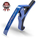Guitar Capo - Blue ★ Best for Single-handed Quick Release Key Clamp Trigger for 6 String Acoustic, Bass, Classical, Electric, Ukulele and Banjo/mandolin. Works Perfectly with Yamaha, Gibson, Fender, and Ibanez. Backed By 30 Day Guarantee