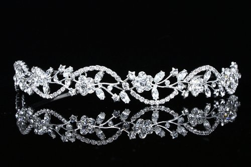 Bridal Flower Rhinestones Crystal Wedding Headband Tiara (Clear Crystals Silver Plated)