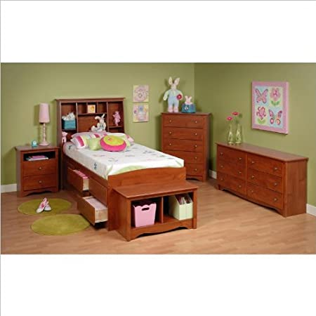 Prepac Monterey Cherry Tall Twin Wood Platform Storage Bed 3 Piece Bedroom Set