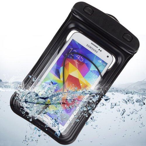 Waterproof Pouch Case With Built In Headphone Adapter , Waterproof Earphones For Samsung Galaxy S5 Note 3 Note 2 / Blu Studio 5.5 / Blu 5.0 (Black)
