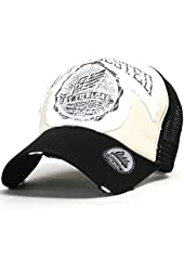ililily Distressed Vintage Wing Character Baseball Mesh Cap Snapback Trucker Hat