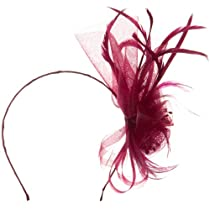 Mesh Flower Head Band with feather Ribbon - Burgundy OSFM