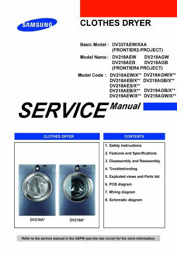 Samsung Dv219Aew/Xaa Service Manua, Dv218Aew/Xaa Service Manual, Dv219Aeb/Xaa Service Manual