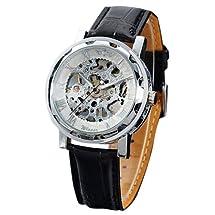 Seasonwind Luxury Silver New Mechanical Semi-automatic Commercial Dial Window Skeleton Analog Leather Men Wrist Watch