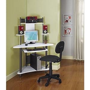 Pewter Finish Corner Workstation Kids Children's Computer Desk & Chair by Kings Brand Furniture