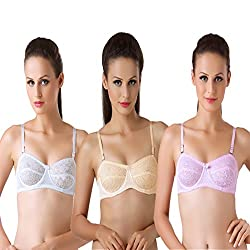Bodyline Lacy Wired Multi Occasional Non Padded White Skin and Pink Bra