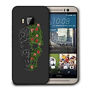 Snoogg Floral Skull Designer Protective Back Case Cover For HTC ONE M9